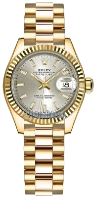 Rolex Lady Datejust 28mm Yellow Gold 279178 Silver Index President