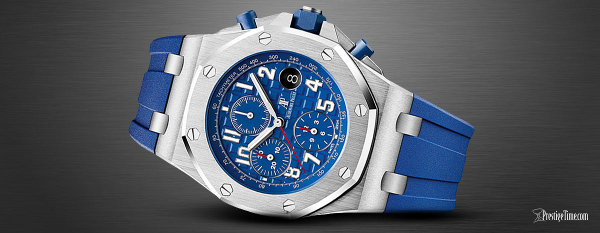 26470st.oo.a030ca AP Royal Oak Offshore Chronograph 42mm Blue Rubber Strap