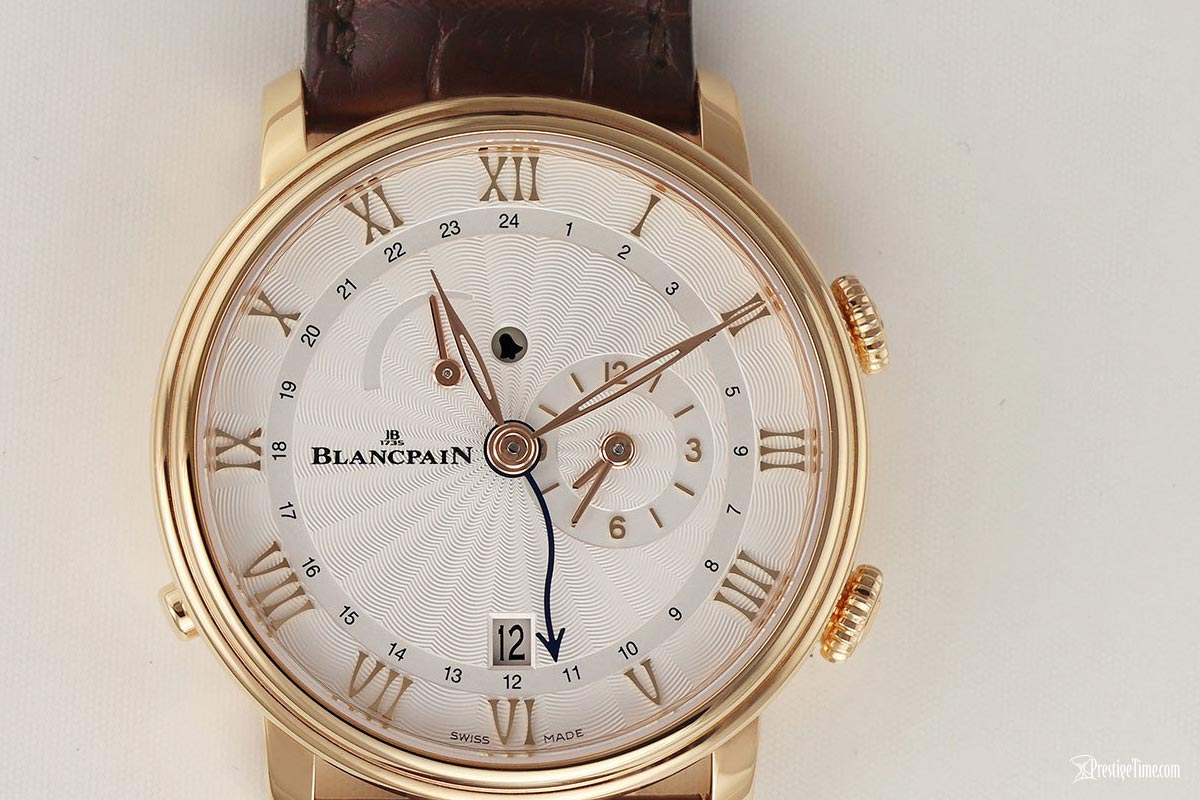 Blancpain Villeret Reveil GMT Review rose gold on brown strap
