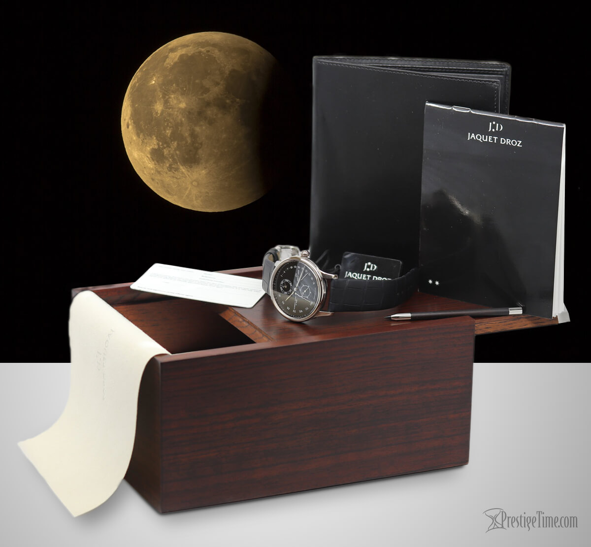 Jaquet Droz Astrale Perpetual Calendar box and packaging