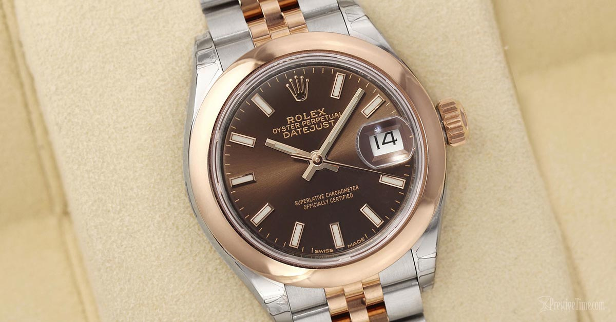 Rolex Lady Datejust 28mm 279161 Chocolate Index Jubilee Dial