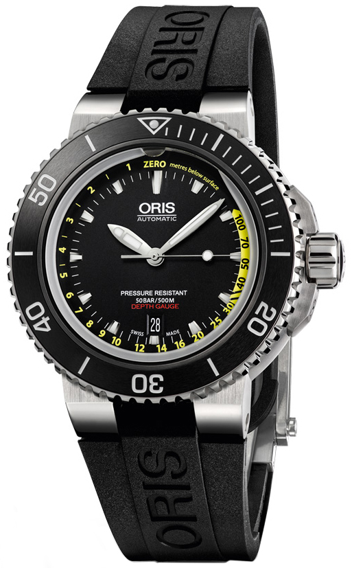1547e3f37 01 733 7675 4154-Set Oris Aquis Depth Gauge Mens Watch