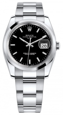 Rolex Date 34mm 115200 Black Index Oyster