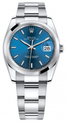 Rolex Date 34mm 115200 Blue Index Oyster