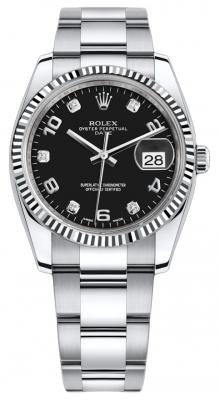Rolex Date 34mm 115234 Black Diamond Oyster