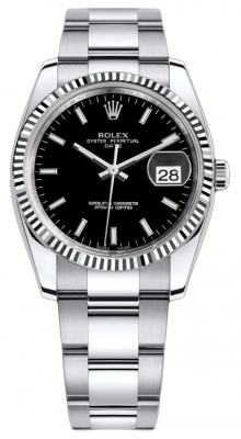 Rolex Date 34mm 115234 Black Index Oyster