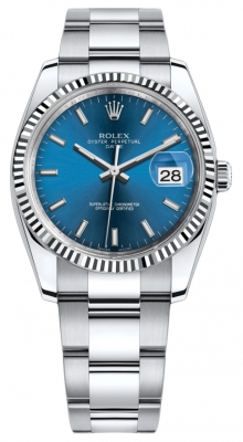 Rolex Date 34mm 115234 Blue Index Oyster
