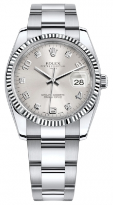 Rolex Date 34mm 115234 Silver Diamond Oyster