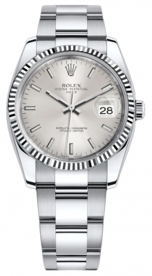 Rolex Date 34mm 115234 Silver Index Oyster