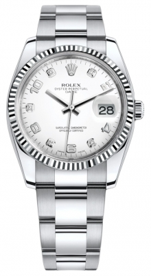 Rolex Date 34mm 115234 White Diamond Oyster