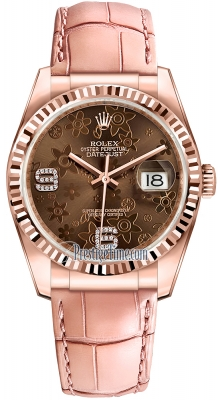 Rolex Datejust 36mm Everose Gold 116135 Chocolate Floral