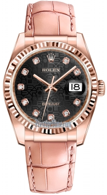 Rolex Datejust 36mm Everose Gold 116135 Jubilee Black Diamond