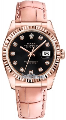 Rolex Datejust 36mm Everose Gold 116135 Black Diamond