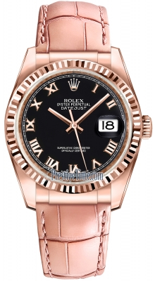 Rolex Datejust 36mm Everose Gold 116135 Black Roman