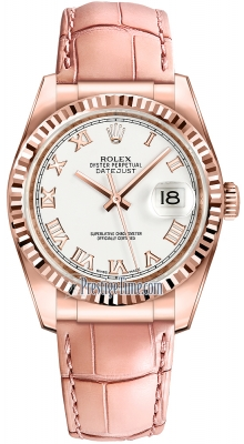 Rolex Datejust 36mm Everose Gold 116135 White Roman