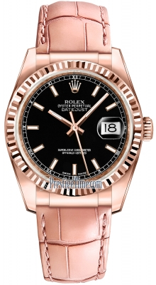 Rolex Datejust 36mm Everose Gold 116135 Black Index