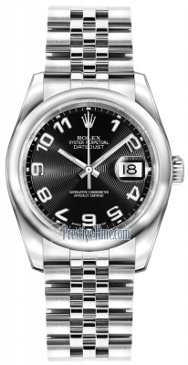 Rolex Datejust 36mm Stainless Steel 116200 Black Concentric Arabic Jubilee