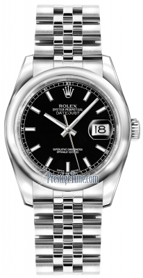 Rolex Datejust 36mm Stainless Steel 116200 Black Index Jubilee