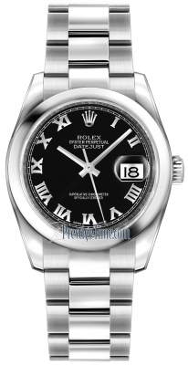 Rolex Datejust 36mm Stainless Steel 116200 Black Roman Oyster