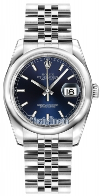 Rolex Datejust 36mm Stainless Steel 116200 Blue Index Jubilee
