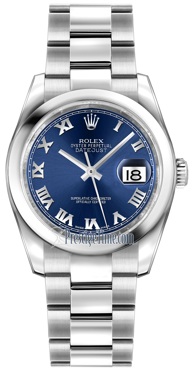 d5b864f7fbb Availability. Rolex Datejust 36mm Stainless Steel Midsize Watch Model  Number  116200 Blue Roman Oyster