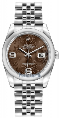 Rolex Datejust 36mm Stainless Steel 116200 Bronze Floral Jubilee