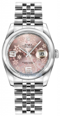 Rolex Datejust 36mm Stainless Steel 116200 Pink Floral Jubilee