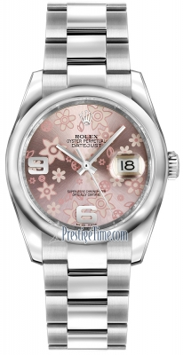 Rolex Datejust 36mm Stainless Steel 116200 Pink Floral Oyster