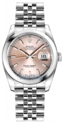 Rolex Datejust 36mm Stainless Steel 116200 Pink Index Jubilee