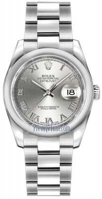 Rolex Datejust 36mm Stainless Steel 116200 Rhodium Roman Oyster