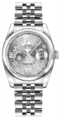 Rolex Datejust 36mm Stainless Steel 116200 Silver Floral Jubilee