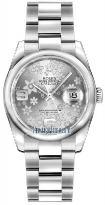 Rolex Datejust 36mm Stainless Steel 116200 Silver Floral Oyster