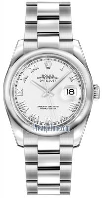 Rolex Datejust 36mm Stainless Steel 116200 White Roman Oyster