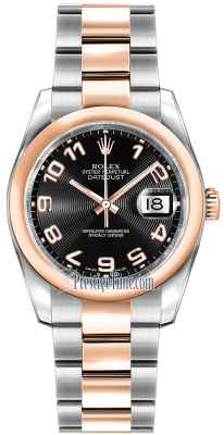 Rolex Datejust 36mm Stainless Steel and Rose Gold 116201 Black Concentric Arabic Oyster