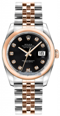 Rolex Datejust 36mm Stainless Steel and Rose Gold 116201 Black Diamond Jubilee