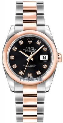Rolex Datejust 36mm Stainless Steel and Rose Gold 116201 Black Diamond Oyster