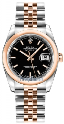 Rolex Datejust 36mm Stainless Steel and Rose Gold 116201 Black Index Jubilee