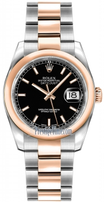 Rolex Datejust 36mm Stainless Steel and Rose Gold 116201 Black Index Oyster