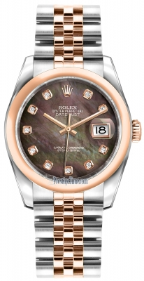 Rolex Datejust 36mm Stainless Steel and Rose Gold 116201 Black MOP Diamond Jubilee