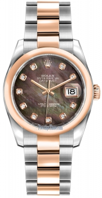 Rolex Datejust 36mm Stainless Steel and Rose Gold 116201 Black MOP Diamond Oyster