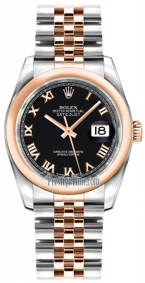 Rolex Datejust 36mm Stainless Steel and Rose Gold 116201 Black Roman Jubilee