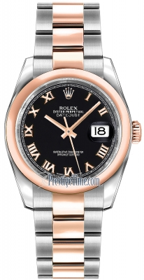 Rolex Datejust 36mm Stainless Steel and Rose Gold 116201 Black Roman Oyster