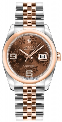 Rolex Datejust 36mm Stainless Steel and Rose Gold 116201 Chocolate Floral Jubilee
