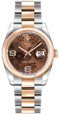 Rolex Datejust 36mm Stainless Steel and Rose Gold 116201 Chocolate Floral Oyster
