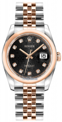 Rolex Datejust 36mm Stainless Steel and Rose Gold 116201 Jubilee Black Diamond Jubilee