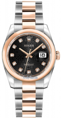 Rolex Datejust 36mm Stainless Steel and Rose Gold 116201 Jubilee Black Diamond Oyster