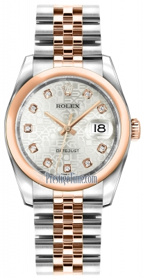 Rolex Datejust 36mm Stainless Steel and Rose Gold 116201 Jubilee Silver Diamond Jubilee