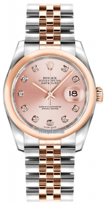 Rolex Datejust 36mm Stainless Steel and Rose Gold 116201 Pink Diamond Jubilee