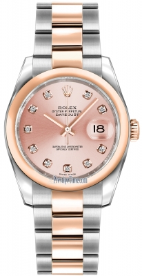 Rolex Datejust 36mm Stainless Steel and Rose Gold 116201 Pink Diamond Oyster