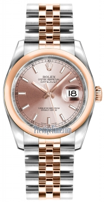 Rolex Datejust 36mm Stainless Steel and Rose Gold 116201 Pink Index Jubilee